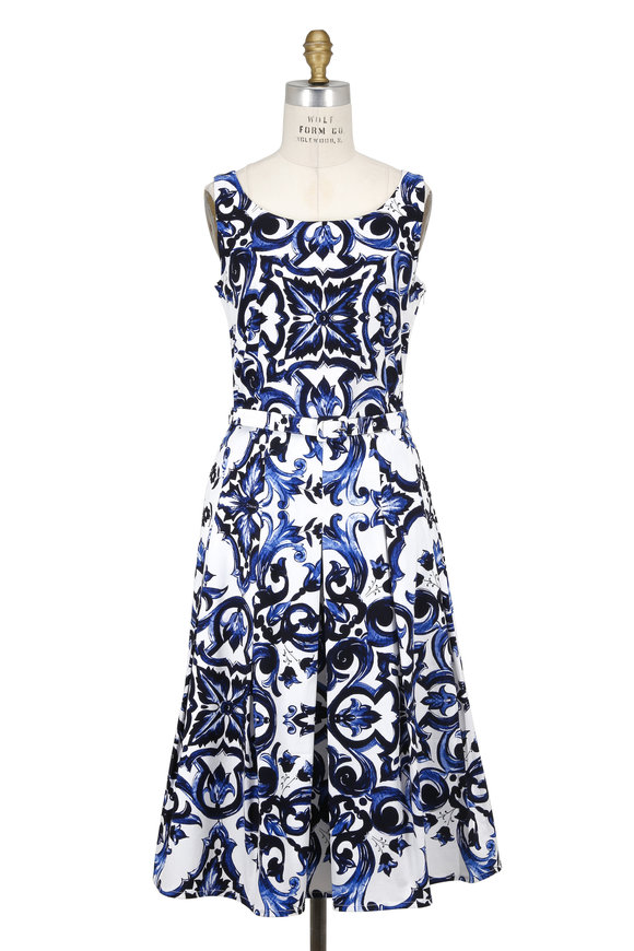 Samantha Sung Penny White & Blue Paros Tile Sleeveless Dress