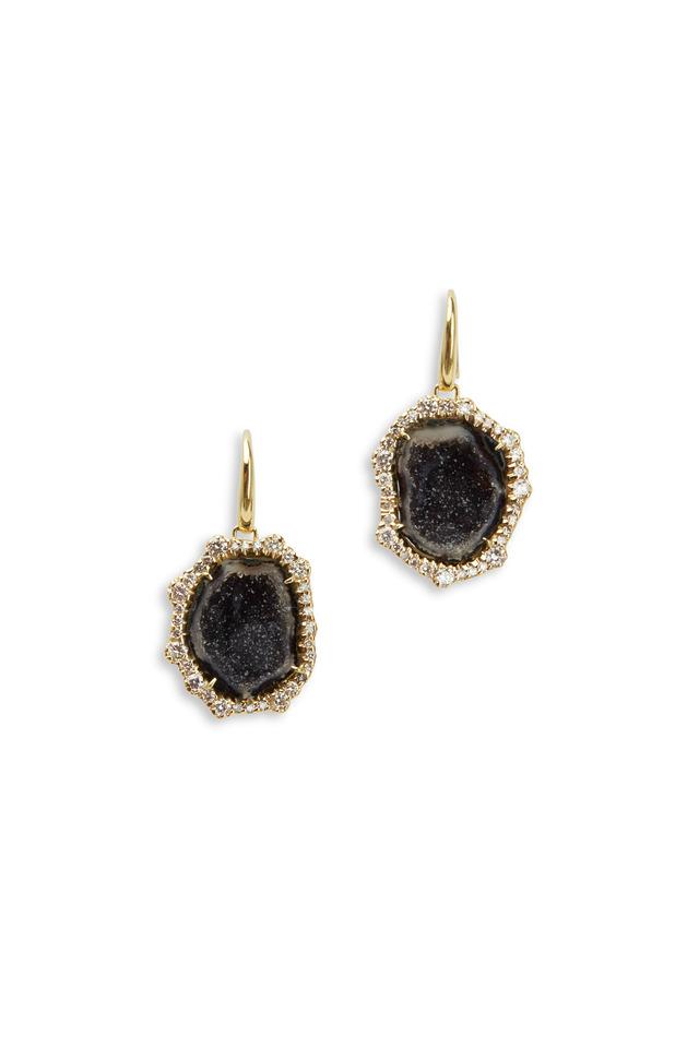 Geode & Irregular Yellow Gold Diamond Earrings