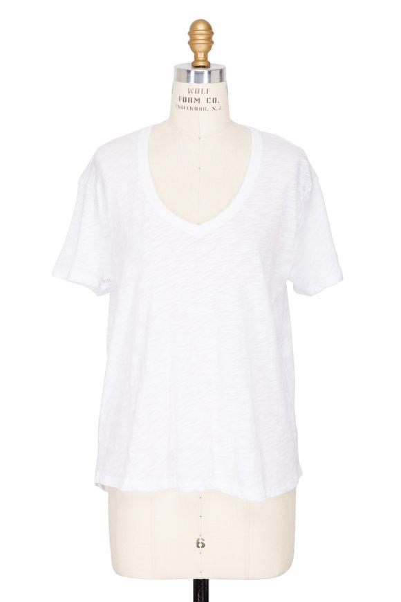 A T M White Slub Jersey V-Neck T-Shirt