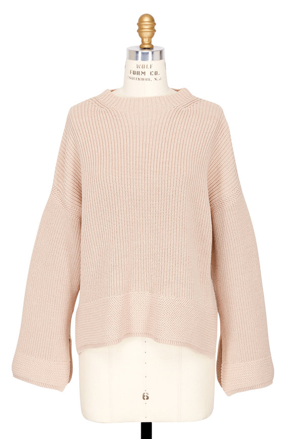 Elizabeth & James Aimee Biscotti Ribbed Cotton Wide Sleeve Sweater