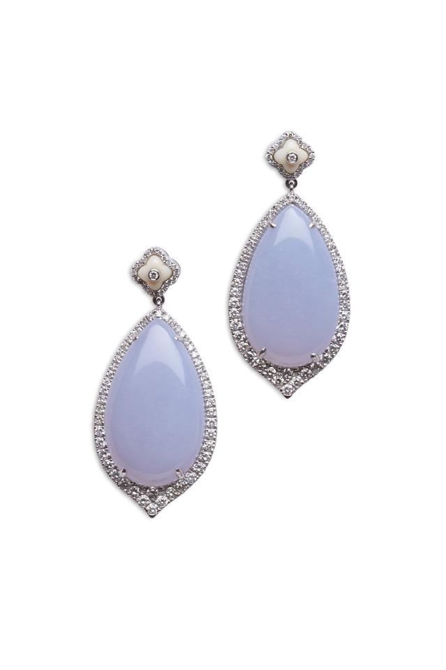 White Gold Blue Chalcedony Dangle Earrings