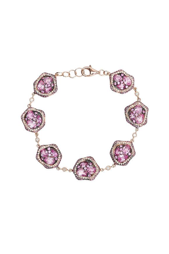 Kai Linz Rose Gold Pink Sapphire & Diamond Bracelet