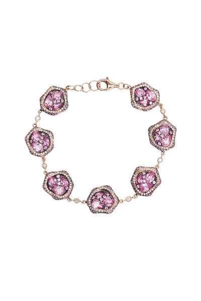 Kai Linz - Rose Gold Pink Sapphire & Diamond Bracelet