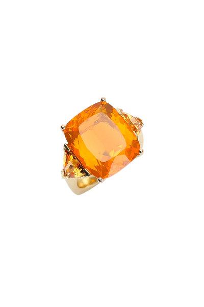 Frank Ancona - 18K Yellow Gold Mexican Fire Opal & Garnet Ring