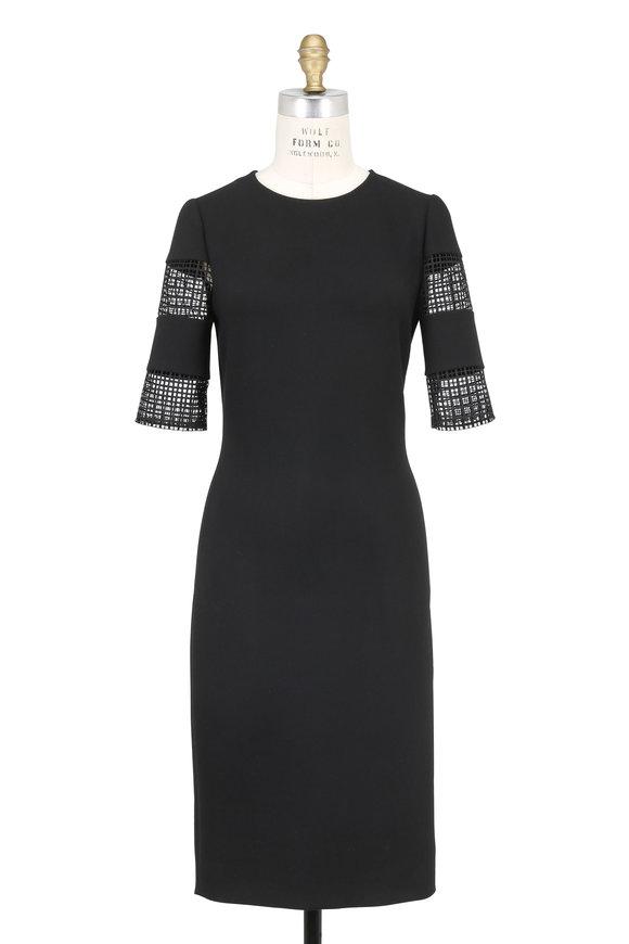 Olivine Gabbro Black Crêpe Cut-Out Elbow Sleeve Dress
