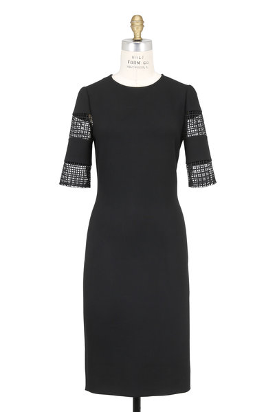 Olivine Gabbro - Black Crêpe Cut-Out Elbow Sleeve Dress