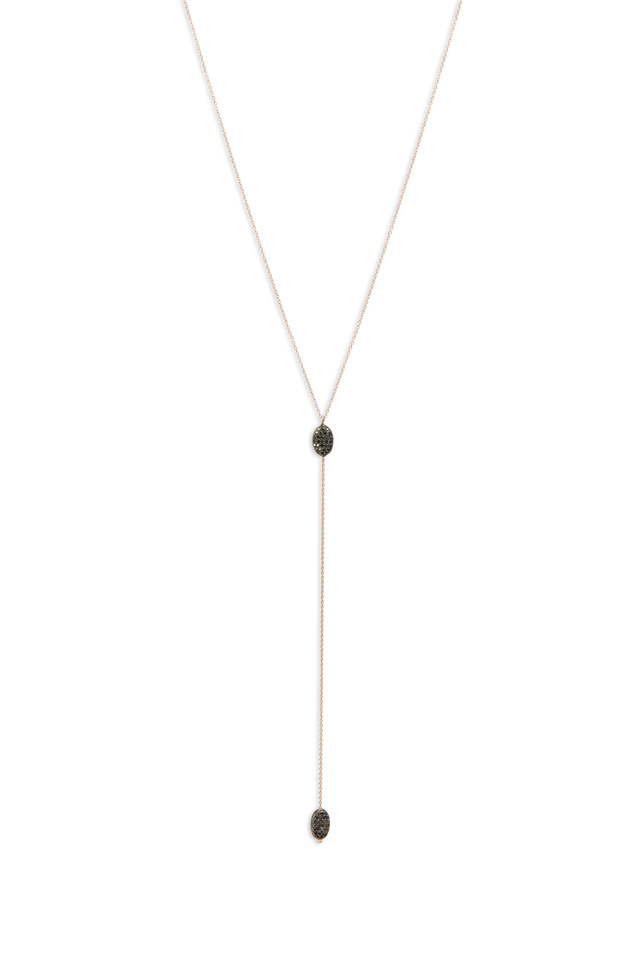 Beaded Black Pavé Diamonds Lariat Necklace