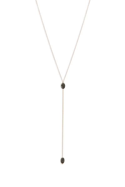 Tulah Jem - Beaded Black Pavé Diamonds Lariat Necklace