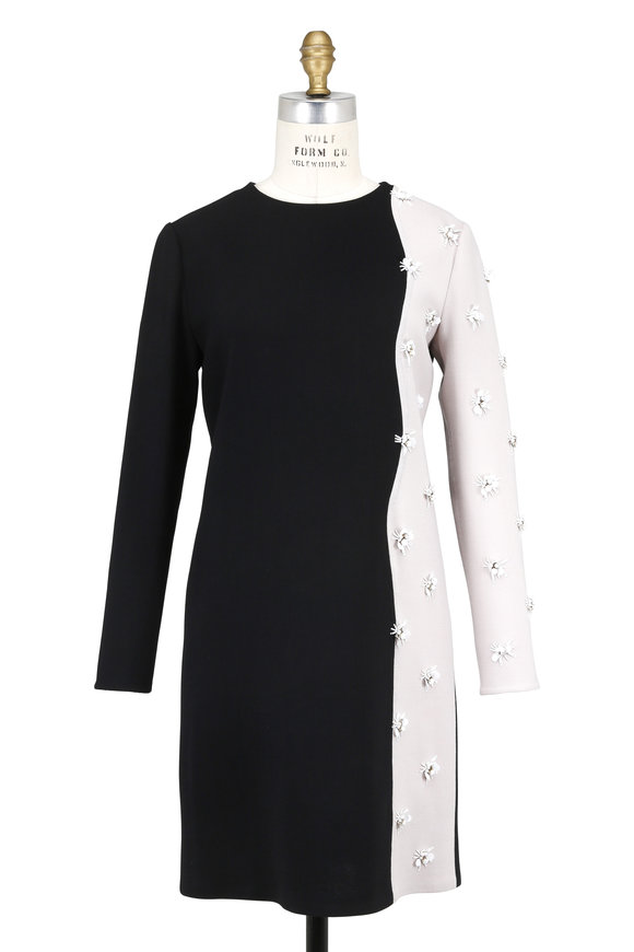 Olivine Gabbro Black & Stone Embroidered Long Sleeve Dress