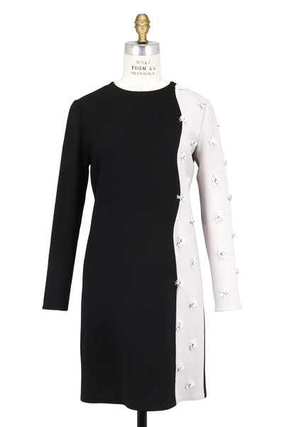 Olivine Gabbro - Black & Stone Embroidered Long Sleeve Dress