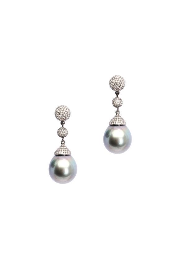 Frank Ancona 18K Gold Tahitian Pearl & Diamond Drop Earrings