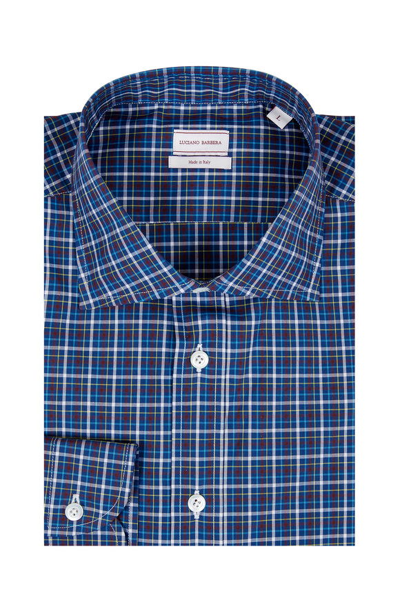 Luciano Barbera Navy Blue Plaid Sport Shirt
