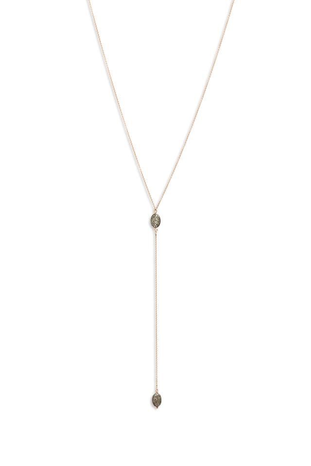 Rose Gold Diamond Bead Lariat Necklace