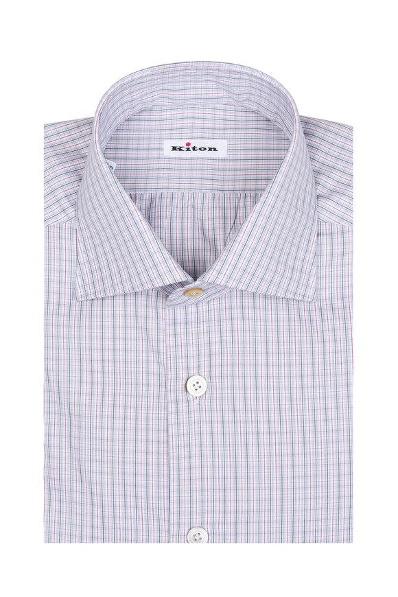 Kiton Red & Gray Plaid Dress Shirt