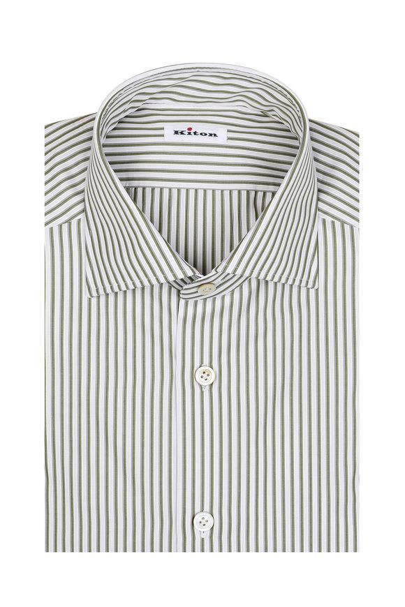 Kiton Olive Green & White Striped Dress Shirt