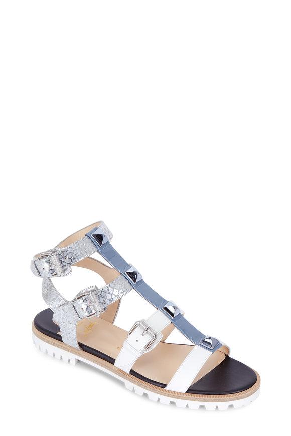 Christian Louboutin Rockin' Buckle Silver, Blue & White Flat Sandal