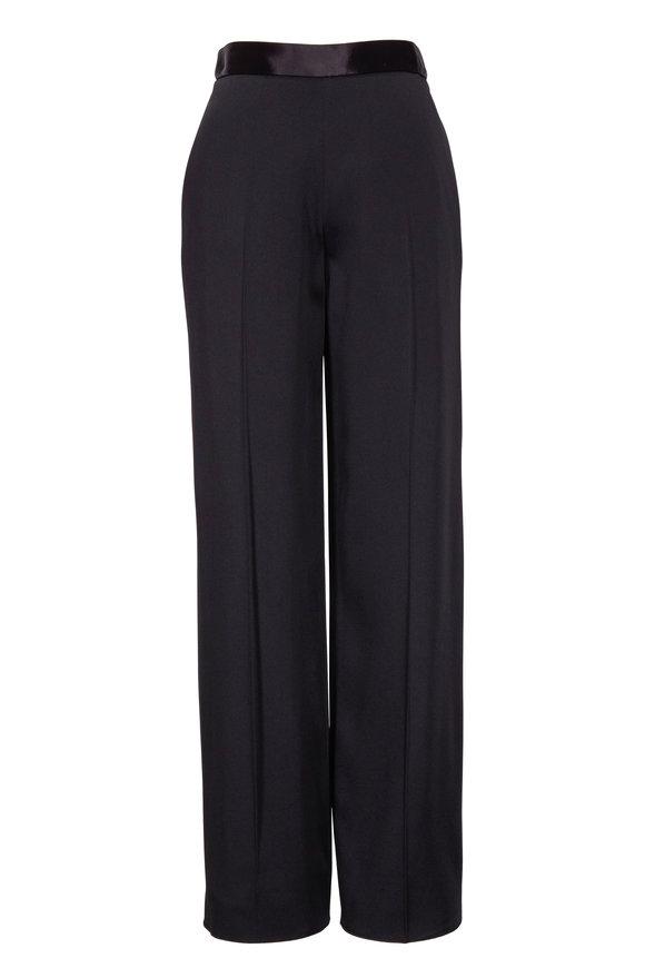 Victoria Beckham Black Twill Wide Leg Trouser