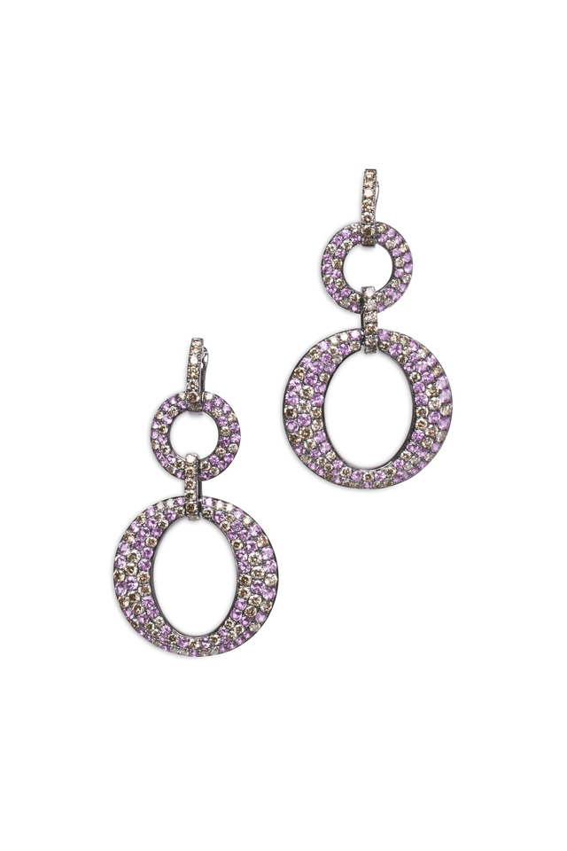 White Gold Pink Sapphire Double O Dangle Earrings