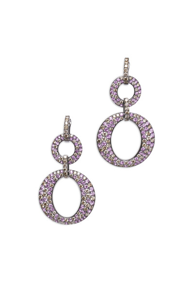 Bochic - White Gold Pink Sapphire Double O Dangle Earrings