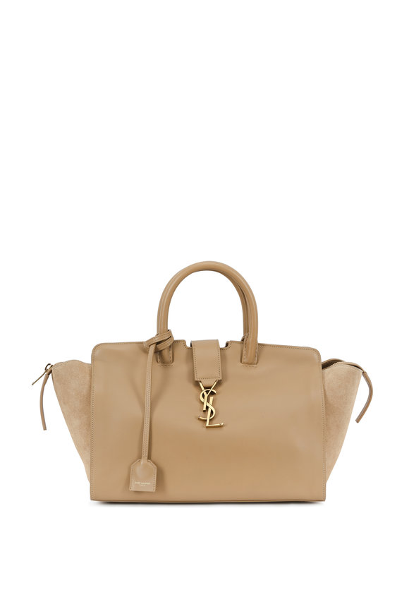 Saint Laurent Cabas Monogram Taupe Leather & Suede Satchel