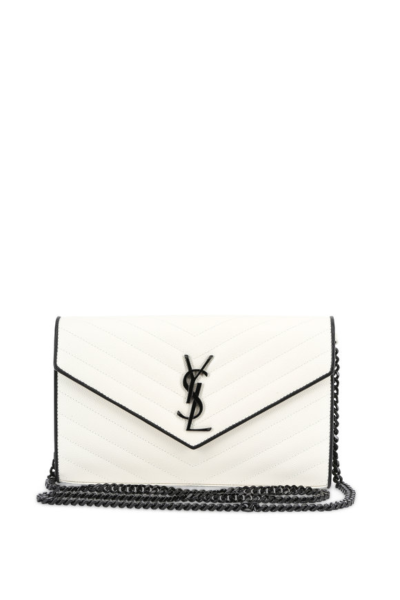 Saint Laurent Monogram Matelassé White Small Chain Clutch