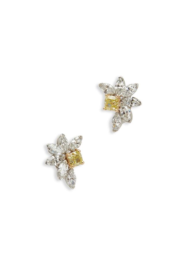 Yellow Gold White & Fancy Yellow Diamond Earrings