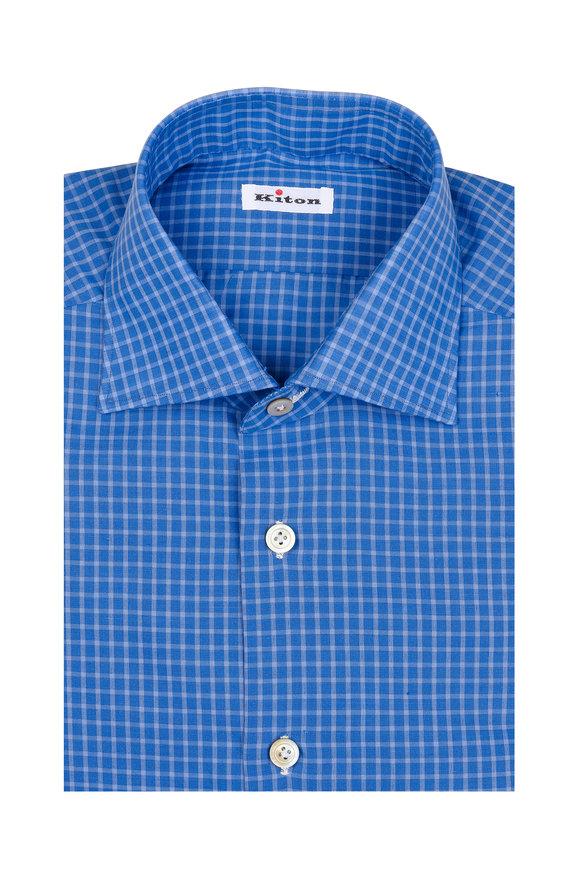 Kiton Blue Check Cotton & Linen Dress Shirt