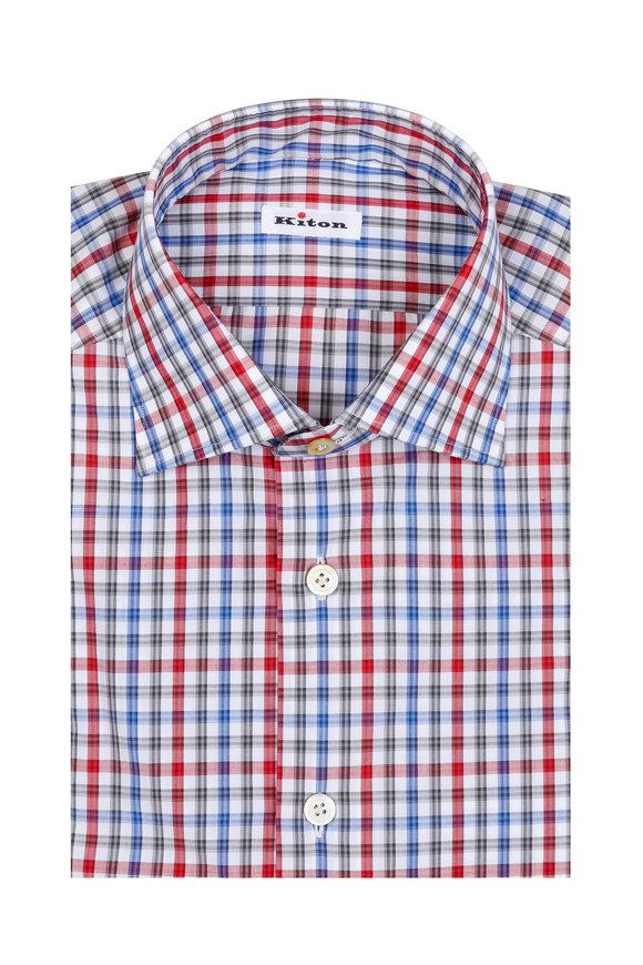 Kiton Blue, Red & Gray Plaid Dress Shirt
