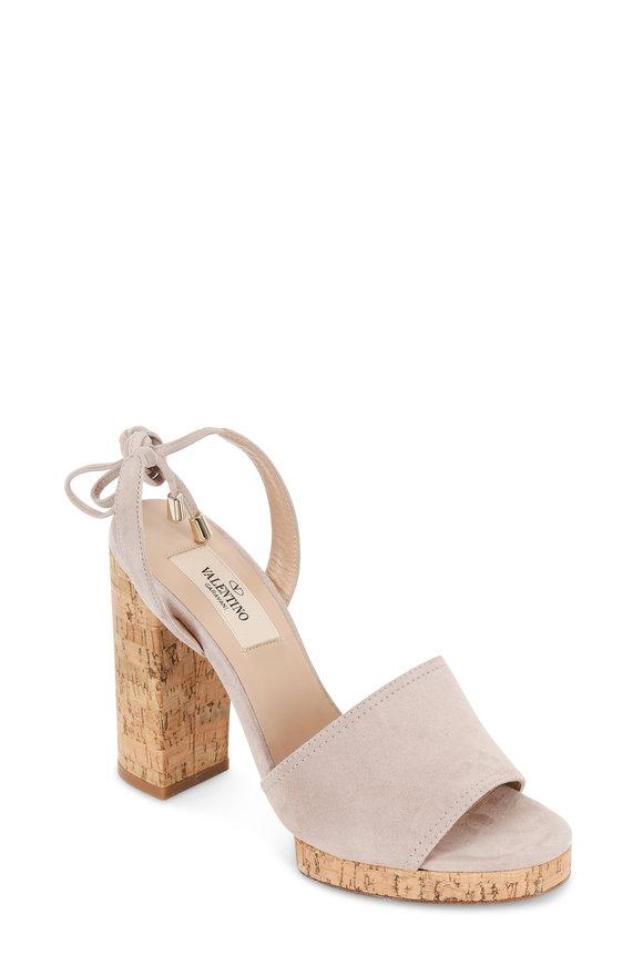 Valentino Erin B. Poudre Suede Cork Heel Tie Sandal, 110mm
