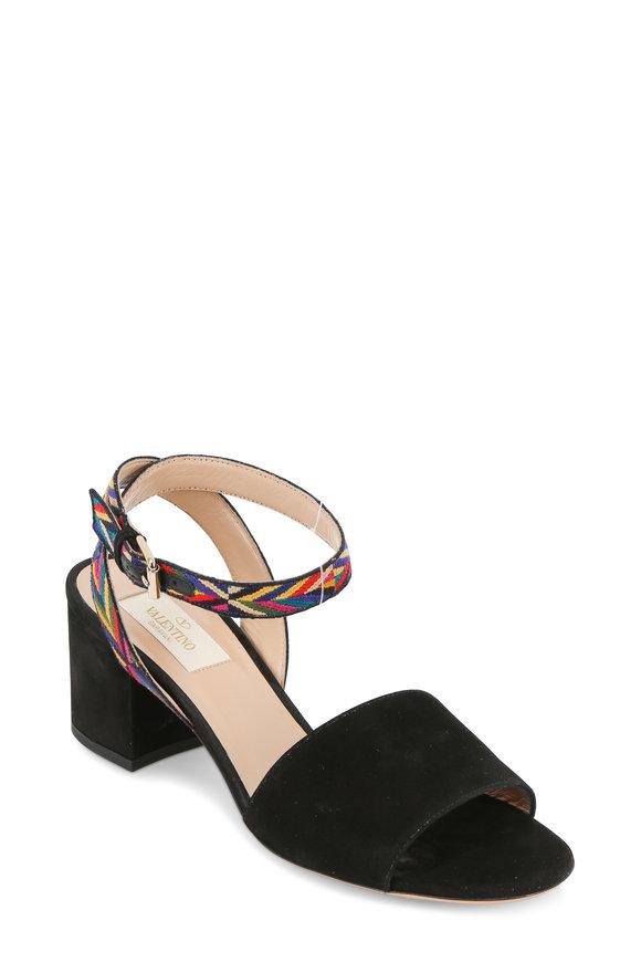 Valentino Native Black Suede Embroidered Strap Sandal, 60mm