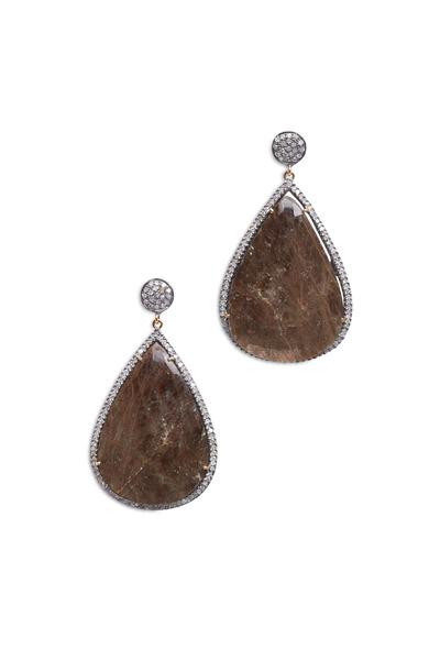Loren Jewels - Gold & Silver Diamond & Sapphire Drop Earrings