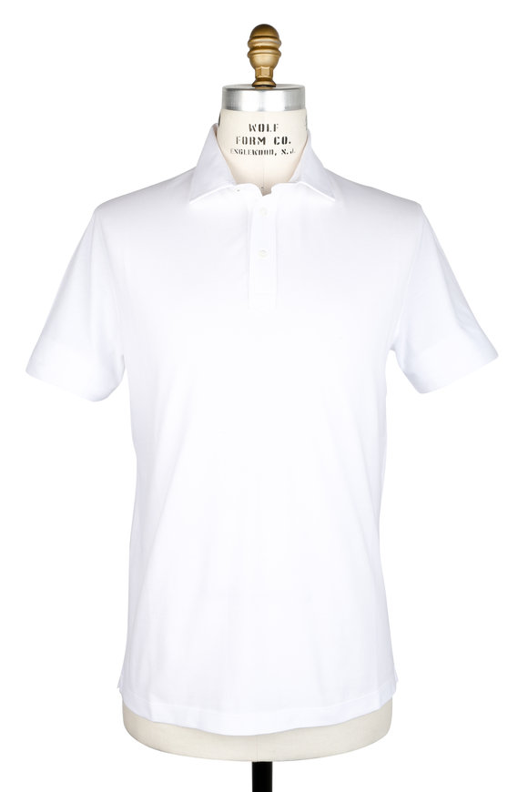 Brunello Cucinelli White Piqué Polo