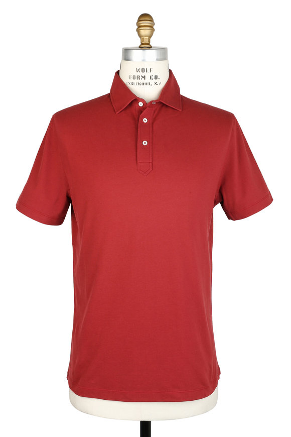 Brunello Cucinelli Dark Red Piqué Polo
