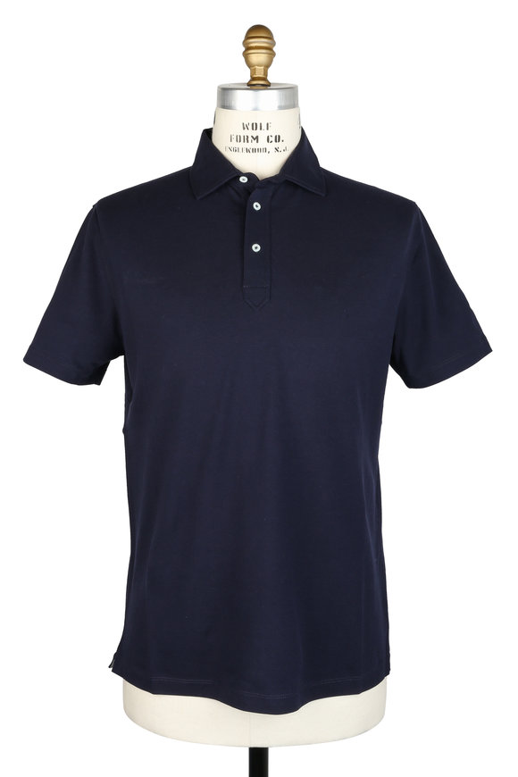Brunello Cucinelli Navy Blue Piqué Polo