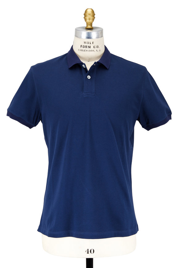 Brunello Cucinelli Blue Piqué Polo