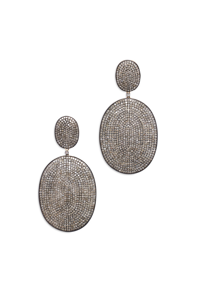Gold & Silver Pavé-Set Diamond Earrings