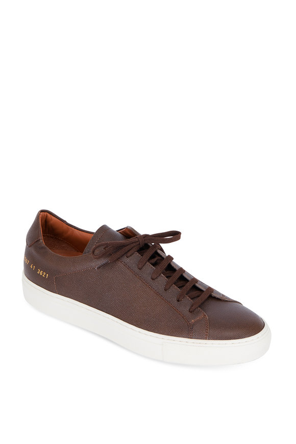 Common Projects Achilles Premium Brown Grained Leather Sneaker