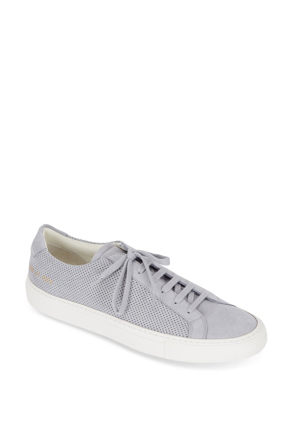 Common Projects Achilles Gray Perforated Suede Sneaker