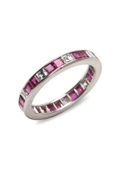 Oscar Heyman - Platinum Ruby & Diamond Guard Ring