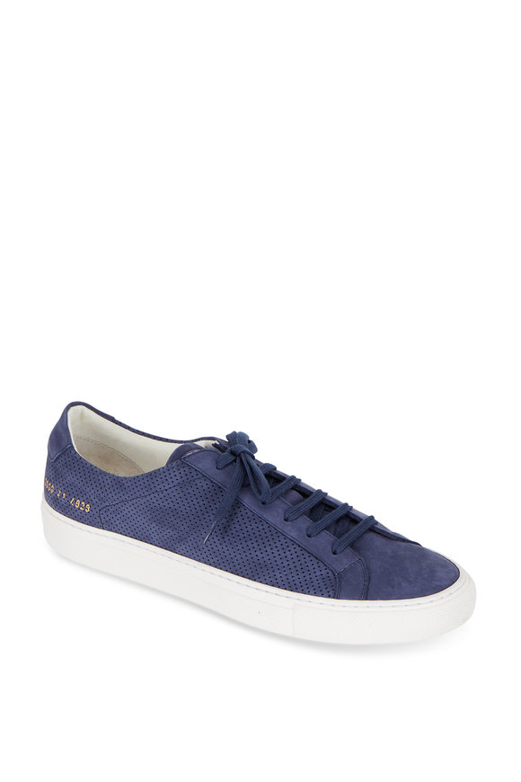 Common Projects Achilles Navy Blue Perforated Suede Sneaker