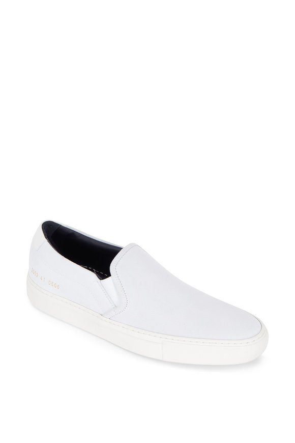 Common Projects White Suede Slip-On Retro Sneaker