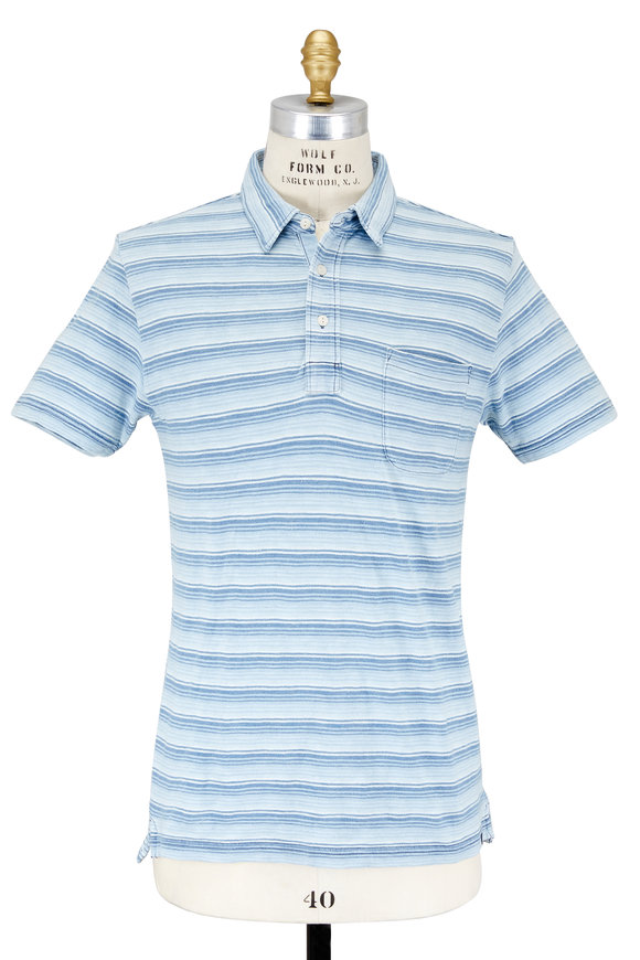 Faherty Brand Indigo Striped Patch Pocket Polo