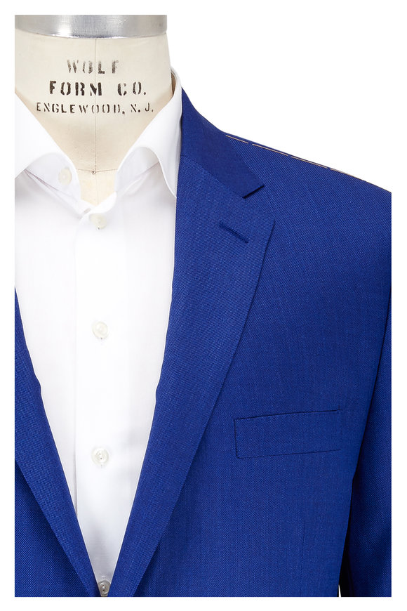 Hickey Freeman High Blue Wool & Silk Sportcoat