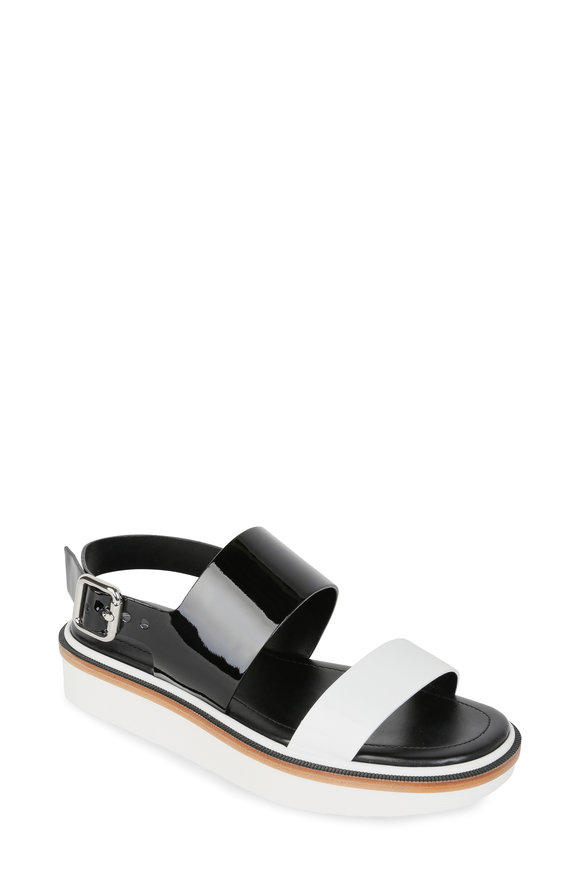 Tod's Black & White Patent Leather Flatform Sandal, 40mm