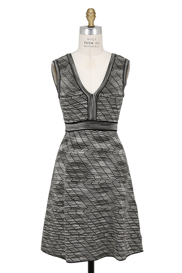 M Missoni Black & Metallic Gold Knit Sleeveless Dress