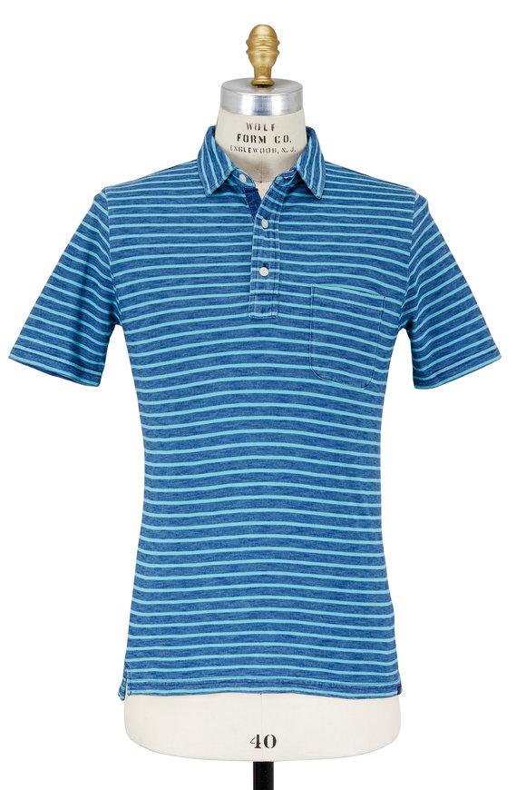 Faherty Brand Indigo & Turquoise Striped Patch Pocket Polo