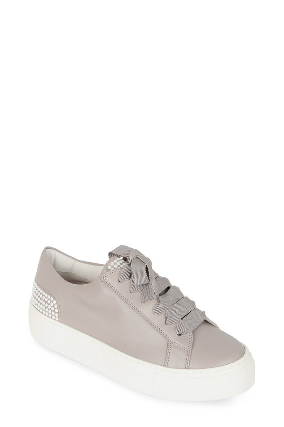 AGL Taupe Leather Pearl Detail Sneaker