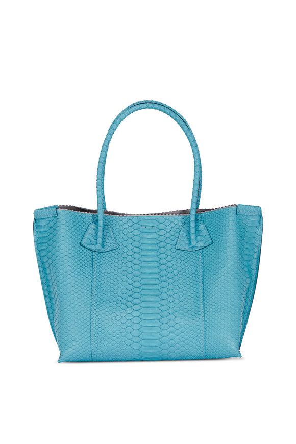 B May Bags Teal Python Embossed Market Tote