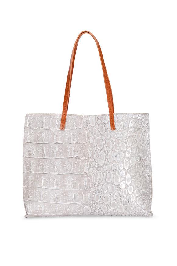B May Bags Pearl Embossed Croc Classic Shopper