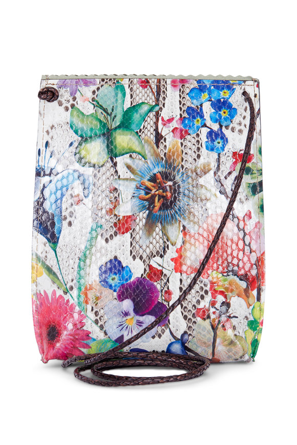 B May Bags Floral Embossed Python Cell Pouch